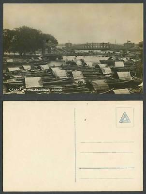 Singapore Old Real Photo Postcard Cavanagh and Anderson Bridge Sampans Boats NBC
