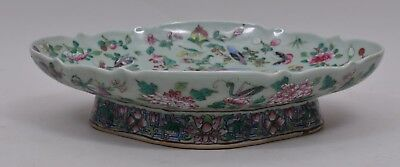 MID 19TH C CHINESE CELADON ROSE FAMILLE BOWL or PLATTER w/ BIRDS & BUTTERFLIES