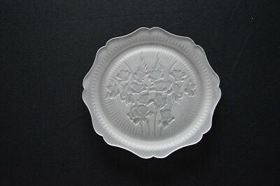 Jeannette Glass Iris & Herringbone Frosted Satin Salad Plate 8""