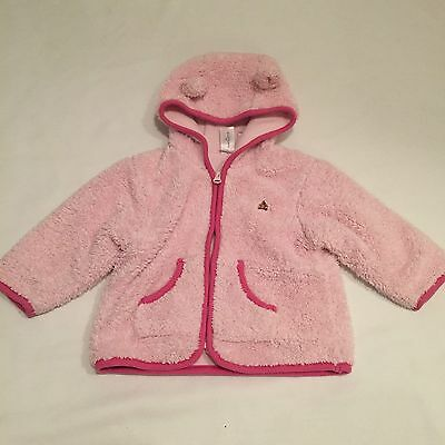 GAP pink fluffy fleece lined hooded coat / jacket Baby girls clothes 6-9 Months