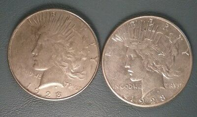 Key Date 1928 and 1928S Peace Silver Dollar Lot 2 Nice Old Dollars S