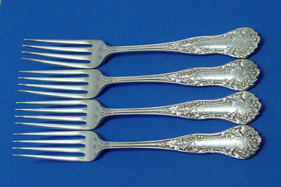 "4 Nice Antique 7"" Forks 1904 Holly Silver Plate Flatware E.h.h. Smith"