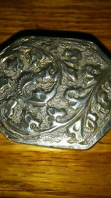 antique solid silver snuff or pill box