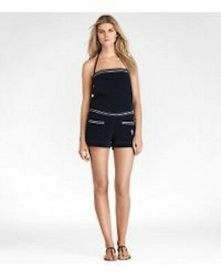 NWT $250 Tory Burch Navy Blue Terry Romper Shorts Coverup Beach Size Large
