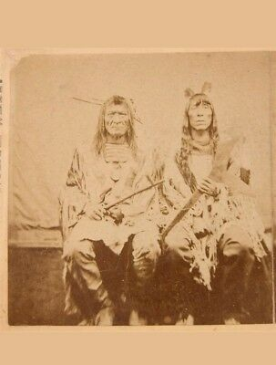 C. 1872 Crow Indian Stereoview**breast Plate** Indian War Club**antique Tomahawk