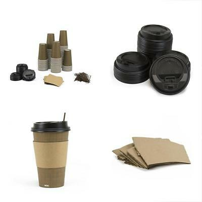 Paper Hot Cups Coffee Lids Sleeves Straws 16oz Pack 100 Insulated
