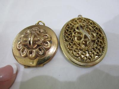 2 pc VINTAGE ANTIQUE GOLDTONE LARGE EMBOSSED RAISED LOCKETS w OLD PHOTOS