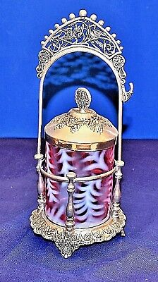 Victorian Pickle Castor Cranberry Silver Plated Holder Glass With Tongs