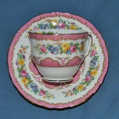 Beautiful Vintage Crown Staffordshire, Pink Chintz, Floral, Tea Cup And Saucer