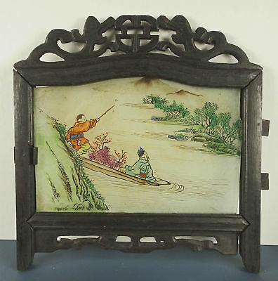 ANTIQUE Chinese Reverse Painted Glass Table Screen Panel in Carved Wood Frame