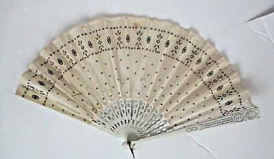 Antique Sequin Embroidered Silk Lace Fan Victorian Ladies Hand Fan Silver Gilt