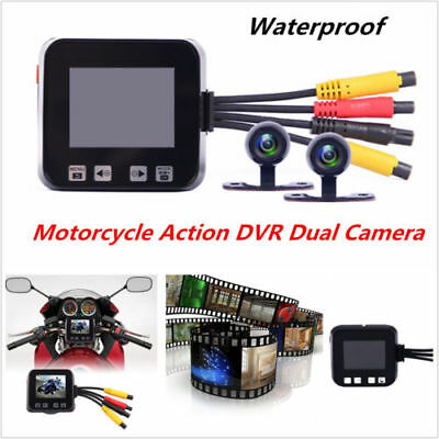 "2"" Motorcycle Camera Motorbike Dual HD Dash Cam Video Wide Angle DVR Camcorder"