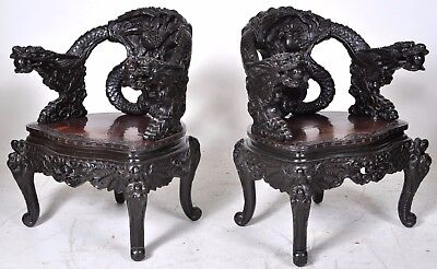 Pair fine antique carved rosewood Chinese Qing dynasty export dragon chairs 1890
