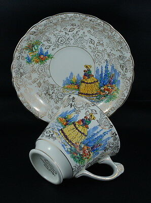 Antique 1930/40's James Kent Crinoline Lady with Gold Design Teacup and Saucer