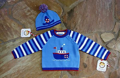 NEW Hand Knit Zubels Tugboat Sweater & Hat Set 9 mths Boys Blue Lot RV$46