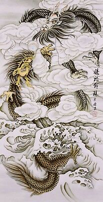 STUNNING ORIGINAL ASIAN FINE ART CHINESE FAMOUS WATERCOLOR PAINTING-Two Dragons