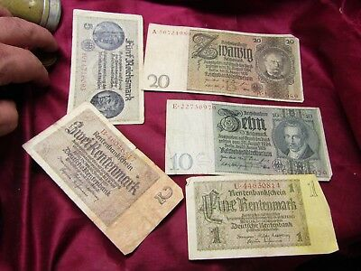 WWII GERMAN PAPER MONEY COLLECTION! 1, 2, 5, 10, and 20 REICHSMARKS! GREAT!!