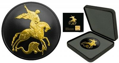 2015 St.George&Dragon 1oz Silver Coin Shades of Enigma Ruthenium Gold Plated
