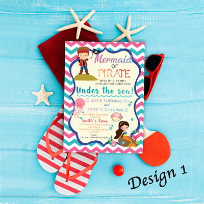 Personalised Kids Mermaid and Pirate Birthday Party Invitation & Thank You Cards
