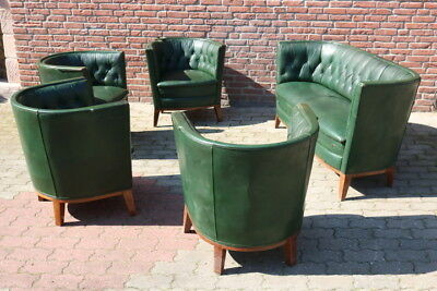 Antik Chesterfield Club Chair Lounge Couch Sitzgruppe Green