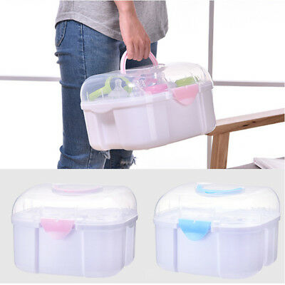 Large Baby Kids Feeding-bottle Storage Box Organizer with Anti-dust Cover