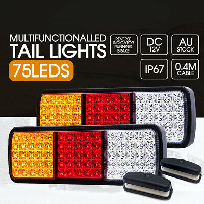 2x Tail Lights 12V 75 LED Indicator Reverse Brake Trailer Boat Truck Bonus NPL