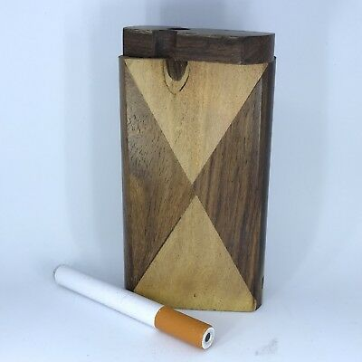 "#D13 New Handcrafted Handmade 4"" Wood Wooden Dugout Tobacco Holder Box & Bat~"