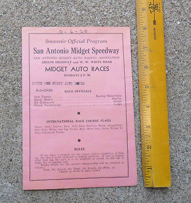Original 1938 San Antonio Midget Speedway Official Program