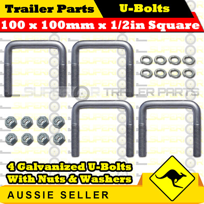 4 x U-Bolts 100mm x 100mm Square with Nuts Galvanized Trailer Box Boat Caravan