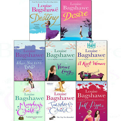 Louise Bagshawe 8 Books Collection Set Monday's Child,Tall Poppies,Venus Envy PB