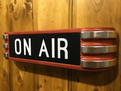 ON AIR rca Radio Warning Lighted Flashing Studio Sign Metallic RED Remote Cont