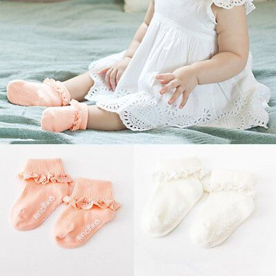 Toddler Girl Princess Soft Cotton Socks Lace Ruffle Frilly Anti Slip Ankle Socks