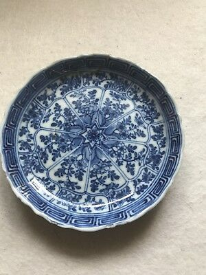 ANTIQUE CHINESE BLUE & WHITE PORCELAIN saucer MOULDED KANGXI PERIOD