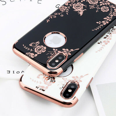 For iPhone X 7 6s Plus Shockproof Ultra Slim Flower Rubber Soft TPU Case Cover