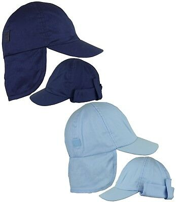 BabyPrem Baby Boys Sun Hat Navy Sky Blue Legionnaires Neck Protection Cap 3-18m