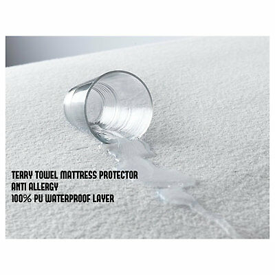 Terry Towel Anti Allergy Mattress Protector With 100% Pu Waterproof Layer