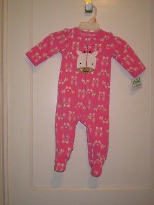 New Carters Child Of Mine Pink Giraffe Print Footed Blanket Sleeper Size 6-9 Mo