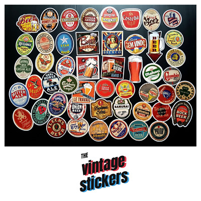 Lot of 50 Vintage Beer Stickers Brew Craft Brewery Logo Decal Label Sticker