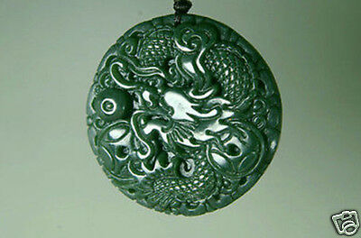 Hand-carved natural nephrite Green jade carving dragon jade pendant Chinese
