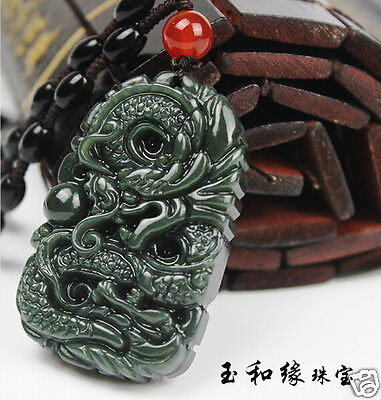 100% Natural Hand-carved Chinese Hetian Jade Dark green Pendant Amulet Dragon