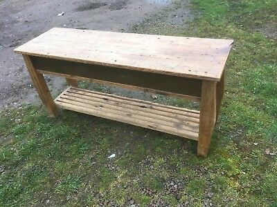 Vintage Industrial Old Pine Bench Seat   Garden  Outside Or Inside Seating Patio