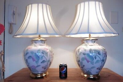 Large Pair Of Vintage Chinese Porcelain Table Lamps With Vintage Silk Shades