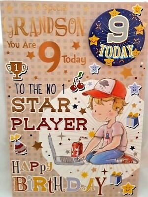 GRANDSON 9th BIRTHDAY CARD BADGE AGE 9 TODAY DESIGN NICE