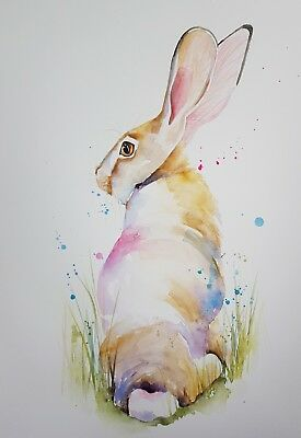 Elle Smith Art.new Original Signed Wildlife Watercolour Painting. A3 Size. Hare.
