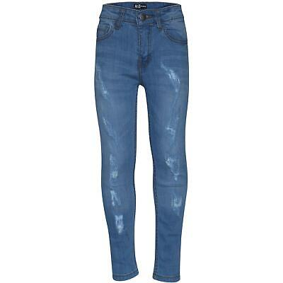 Boys Stretchy Jeans Kids Light Blue Denim Ripped Skinny Pants Trousers 5-13 Year