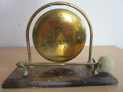 Antique Chinese brass gong w/ mallet on wooden stand. Etched tall sailing ship