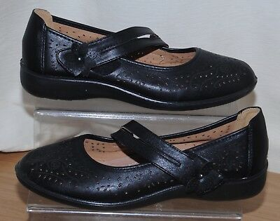 d6ba68914676 CARAVELLE WIDE FIT Ladies Black Front Strap Comfort Shoes Uk Size 5 ...