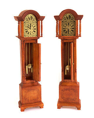 2x Standuhr Simon Willard Mini Mundus Holz