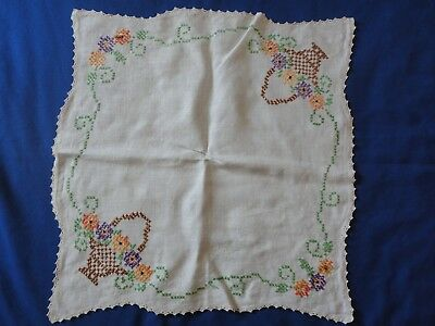 Stunning Vintage Hand Embroidered Center Piece Doily Table Topper 20 by 21 Inch