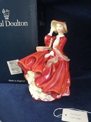 "Royal Doulton Top O' The Hill Hn1834 7.5"" Figurine, Mint, Box, Red Dress Lady"